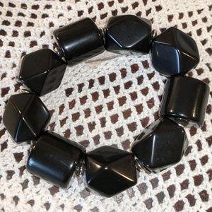 Chunky Black Bead Bracelet